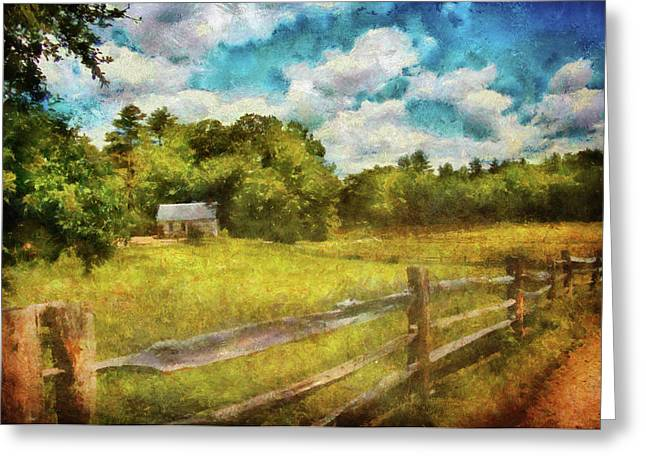 Farm - Fence - It's So Peaceful In The Country Greeting Card by Mike Savad