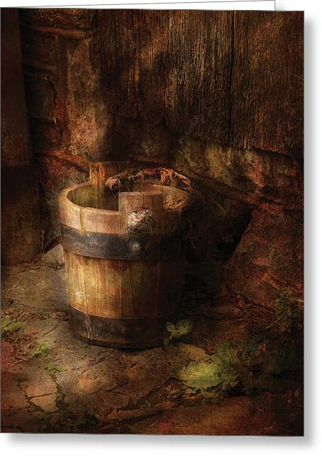 Farm - Pail - An Old Pail Greeting Card by Mike Savad