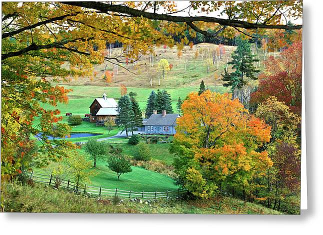 Farm And Fence Vermont Greeting Card