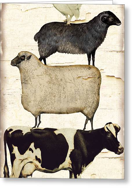 Farm Animals Pileup Greeting Card by Mindy Sommers