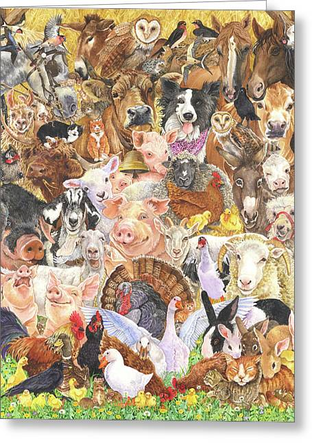 Farm Animals Greeting Card by Wendy Edelson