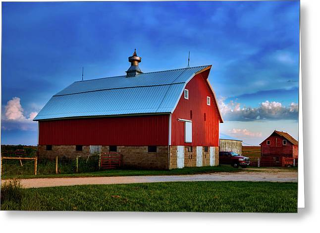 Farm At Sunset - Iowa Greeting Card by L O C