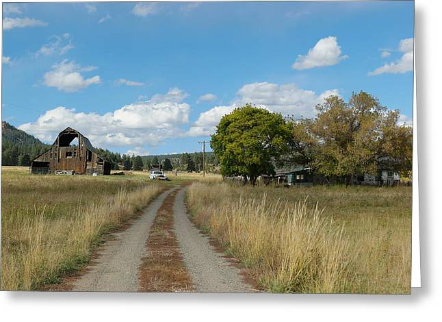 Farm At The End Of A Country Road Greeting Card by Jeff Swan