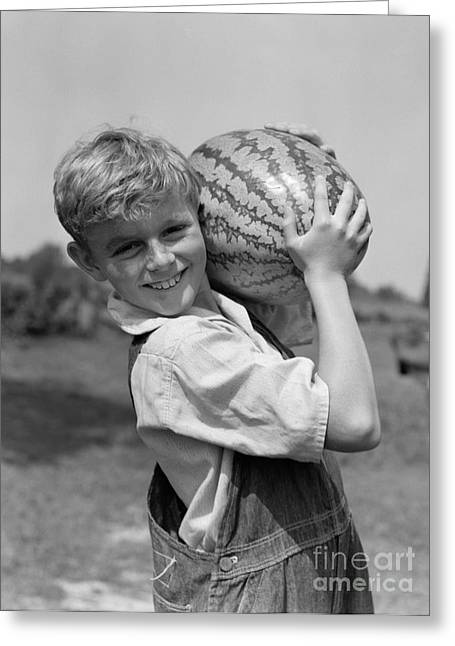 Farm Boy Carrying Watermelon, C.1930s Greeting Card by H. Armstrong Roberts/ClassicStock