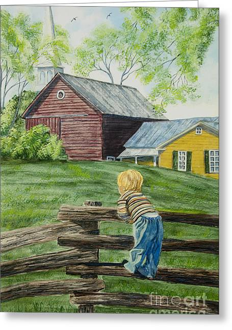 Upstate Paintings Greeting Cards - Farm Boy Greeting Card by Charlotte Blanchard