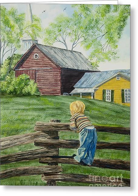 Split Rail Fence Paintings Greeting Cards - Farm Boy Greeting Card by Charlotte Blanchard