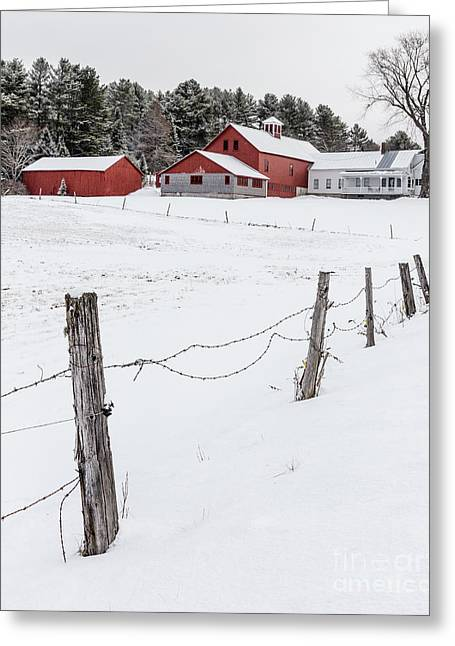 Farm Buildings In Winter Greeting Card