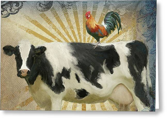 Farm Fresh Barnyard Animals Cow Rooster Typography Greeting Card