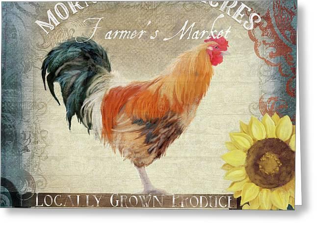 Farm Fresh Barnyard Rooster Morning Sunflower Rustic Greeting Card