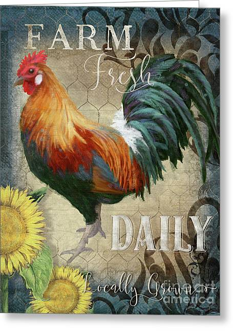 Greeting Card featuring the painting Farm Fresh Daily Red Rooster Sunflower Farmhouse Chic by Audrey Jeanne Roberts