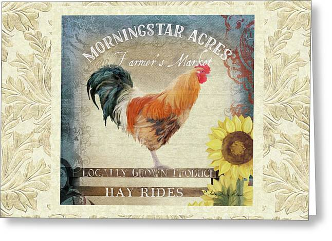 Greeting Card featuring the painting Farm Fresh Damask Barnyard Rooster Sunflower Square by Audrey Jeanne Roberts