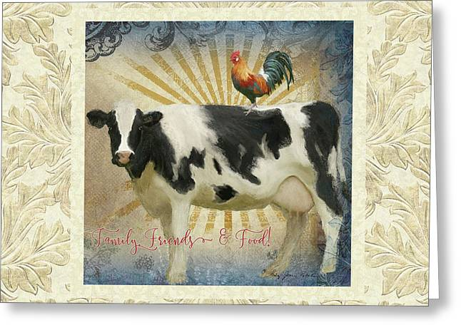 Farm Fresh Damask Milk Cow Red Rooster Sunburst Family N Friends Greeting Card by Audrey Jeanne Roberts