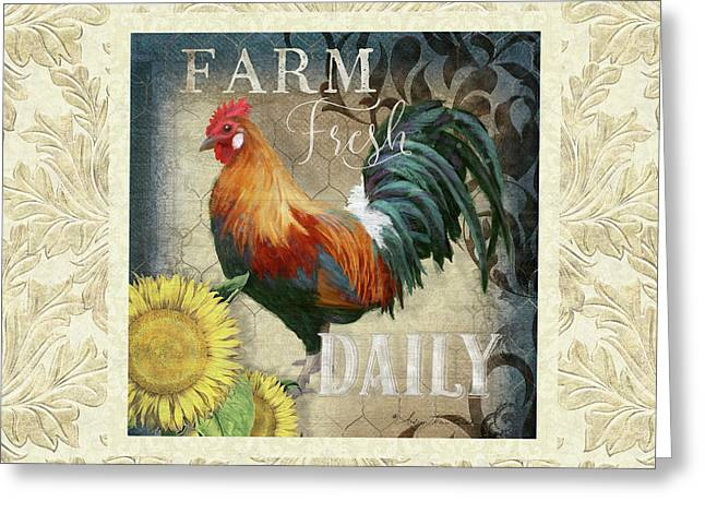 Greeting Card featuring the painting Farm Fresh Damask Red Rooster Sunflower by Audrey Jeanne Roberts
