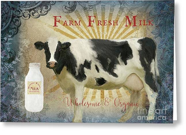 Farm Fresh Milk Vintage Style Typography Country Chic Greeting Card