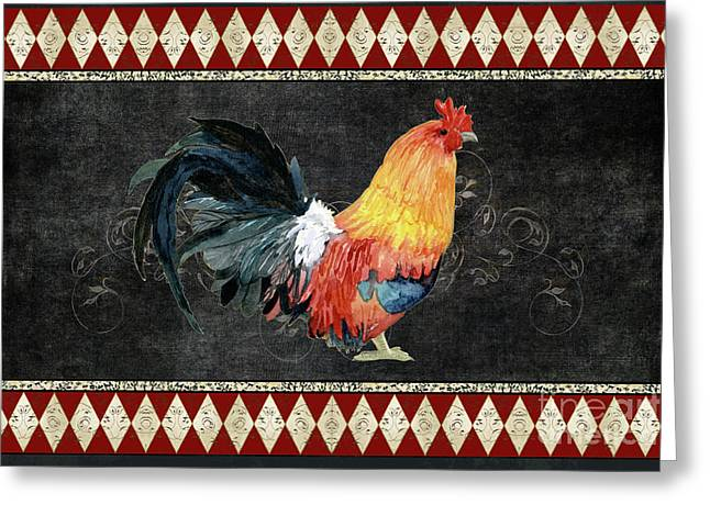 Greeting Card featuring the painting Farm Fresh Rooster 4 - On Chalkboard W Diamond Pattern Border by Audrey Jeanne Roberts
