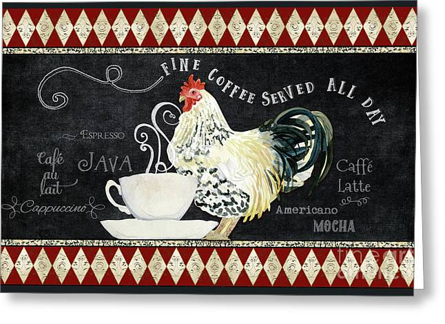 Greeting Card featuring the painting Farm Fresh Rooster 5 - Coffee Served Chalkboard Cappuccino Cafe Latte  by Audrey Jeanne Roberts