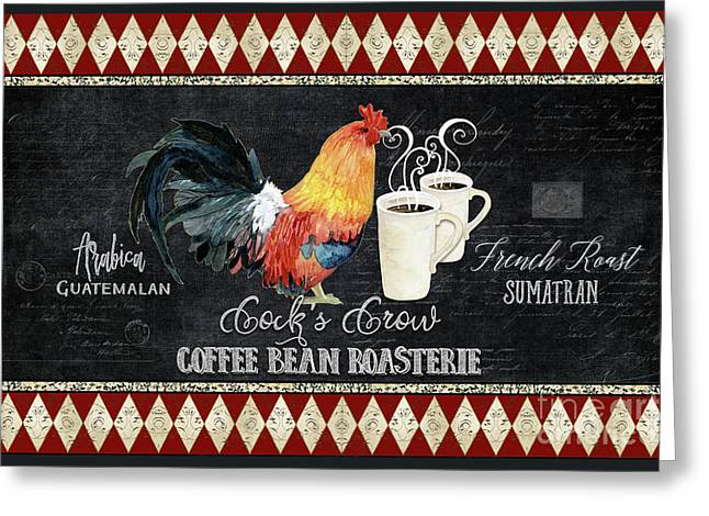 Greeting Card featuring the painting Farm Fresh Rooster 6 - Coffee Bean Roasterie French Roast by Audrey Jeanne Roberts
