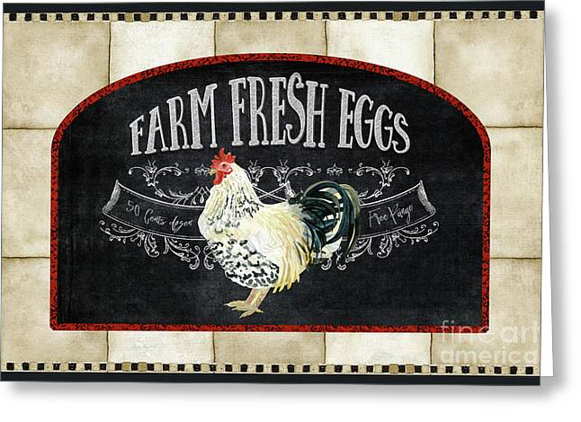 Greeting Card featuring the painting Farm Fresh Roosters 1 - Fresh Eggs Typography by Audrey Jeanne Roberts