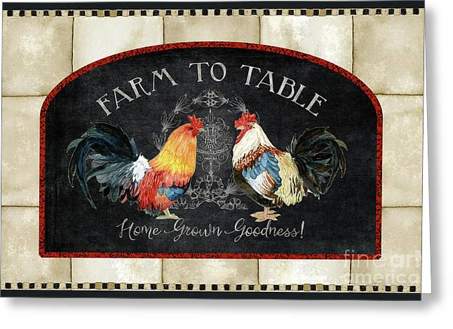 Farm Fresh Roosters 2 - Farm To Table Chalkboard Greeting Card by Audrey Jeanne Roberts