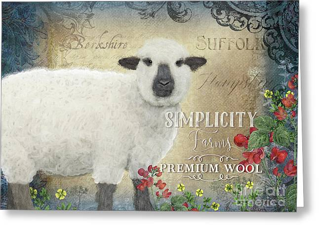 Greeting Card featuring the painting Farm Fresh Sheep Lamb Wool Farmhouse Chic  by Audrey Jeanne Roberts