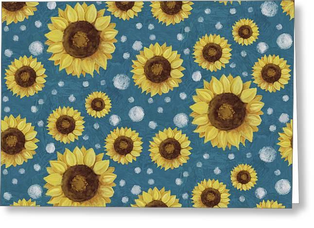 Farm Fresh Sunflower Blue Dot Circle Toss Pattern Greeting Card