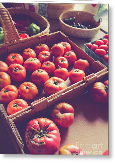 Farm Fresh Tomatoes At A Farm Stand Greeting Card