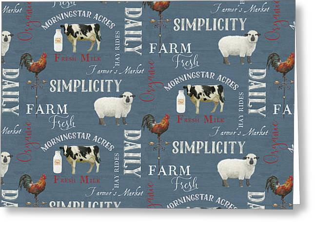 Farm Fresh Typography Country Cow Sheep Rooster Milk Blue Pattern Greeting Card