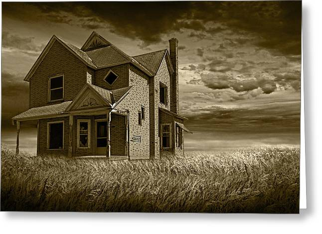 Farm House At Sunset In Sepia Greeting Card