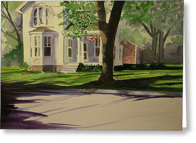 Farm House In The City Greeting Card by Walt Maes