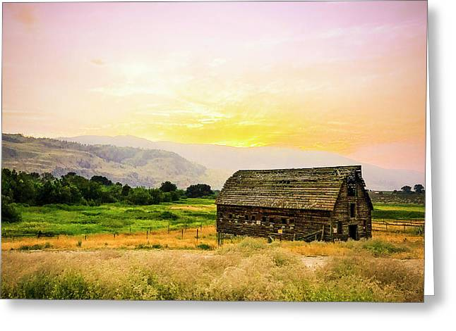 Twilight At The Okanagan Farm House Canada Greeting Card