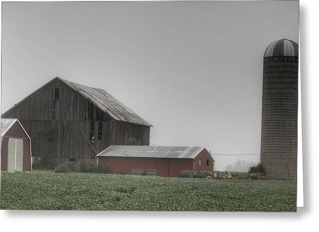 0011 - Farm In The Fog II Greeting Card