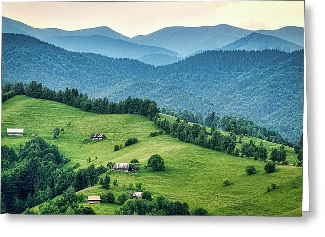 Farm In The Mountains - Romania Greeting Card