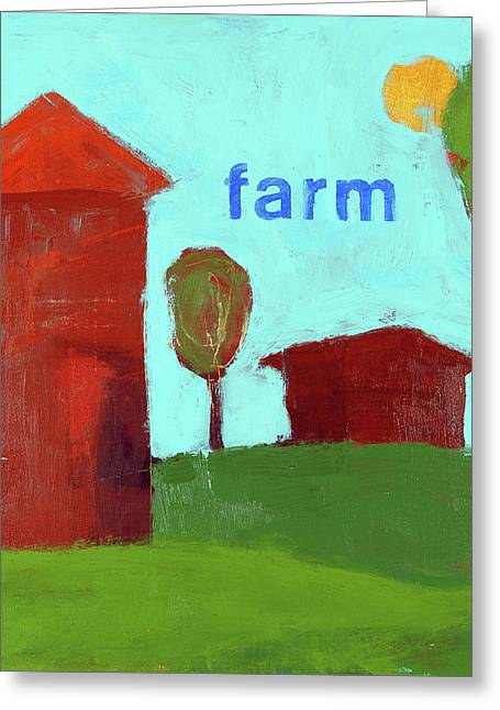 Farm Prints Greeting Cards - Farm Greeting Card by Laurie Breen