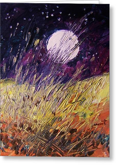 Farm Moon Greeting Card by John Williams