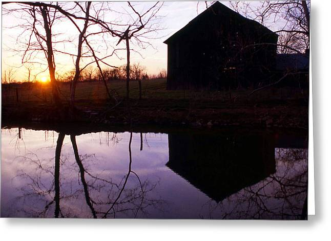 Farm Pond At Sunset Greeting Card by George Ferrell