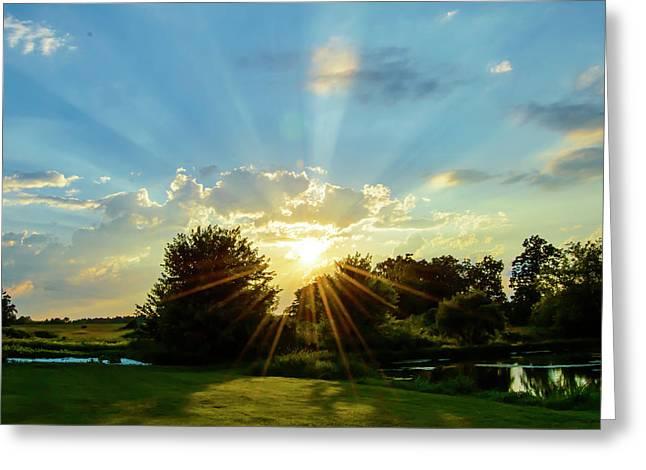 Farm Pond Sunset Greeting Card by Bill Caldwell