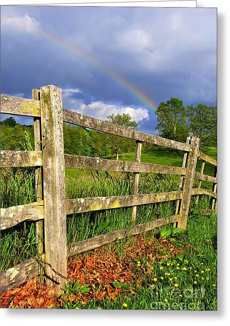 Farm Rainbow Greeting Card by Thomas R Fletcher