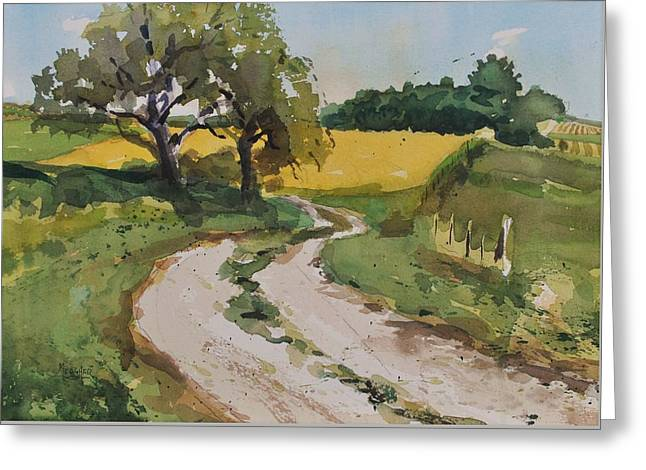 Farm Road Greeting Card by Spencer Meagher
