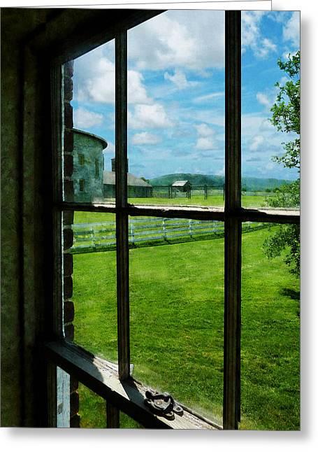 Farm Seen Through Window Greeting Card by Susan Savad
