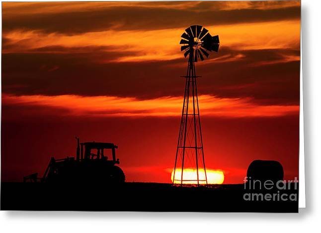 Greeting Card featuring the photograph Farm Silhouettes by Brad Allen Fine Art