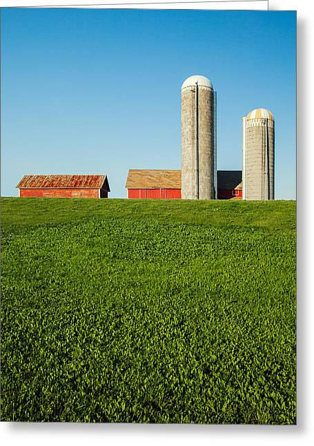 Farm Silos And Shed On Green And Against Blue Greeting Card