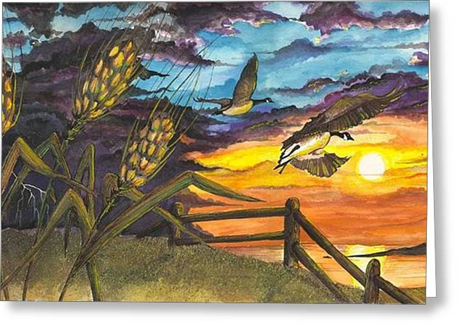 Greeting Card featuring the painting Farm Sunset by Darren Cannell