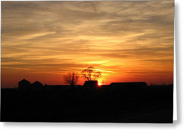 Farm Sunset Greeting Card by Jack G  Brauer