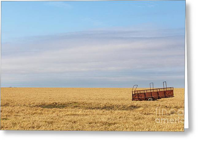 Farm Trailer In The Middle Of Field Greeting Card