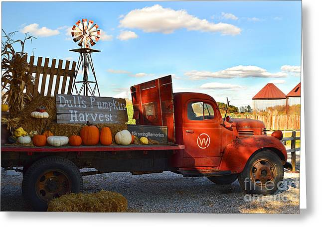 Farm With Red Truck In Fall  Greeting Card