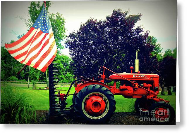 Farmall And Flag Greeting Card