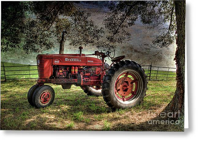 Farmall In The Field Greeting Card by Michael Eingle