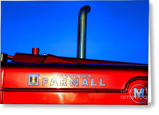 Farmall Sunset Greeting Card by Olivier Le Queinec