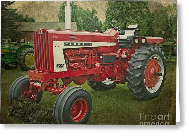 Farmall Tractor Greeting Card by Emily Kay