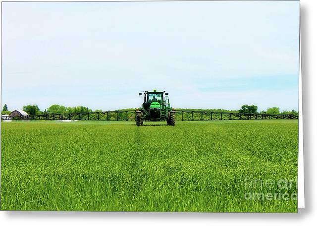 Farmer And Tractor Greeting Card by Anthony Djordjevic